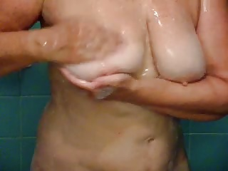66 Year Old Diane Washing Cum From Her Big Titties