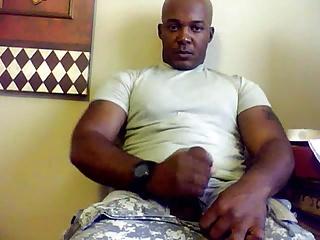 Beefy Black Soldier Jerks Off & Cums