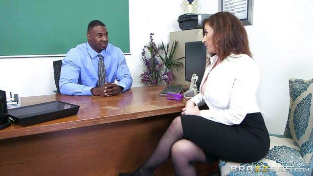 Black cock office treat for Sara Jay