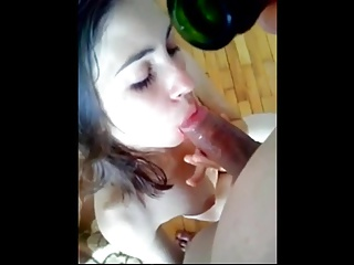 Blowjob and masturbation with champagne bottle