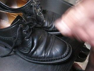 Cum on Black Leathershoes