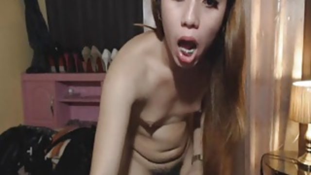 Hottie Asian Shemale Plays with Her Dick