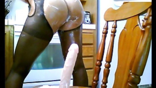 Veronica Mendez in lingerie fucks big squirting dildo